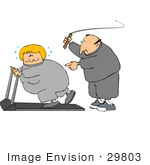 #29803 Clip Art Graphic of a Caucasian Man In Sweats, Cracking A Whip While Telling His Blond Wife To Keep Exercising On A Treadmill by DJArt