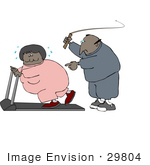#29804 Clip Art Graphic Of An African American Man In Sweats Flashing A Whip While Telling His Wife To Keep Exercising On A Treadmill