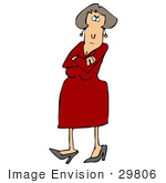 #29806 Clip Art Graphic of a Pissed Woman in a Red Dress, Crossing Her Arms and Tapping Her Foot by DJArt