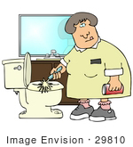 #29810 Clip Art Graphic Of A Grossed Out Maid Scrubbing A Dirty Toilet With A Brush