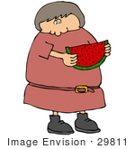 #29811 Clip Art Graphic Of A Woman Eating A Slice Of Watermelon