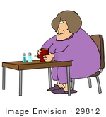 #29812 Clip Art Graphic Of A Lonely Overweight Woman Drinking Coffee By Herself