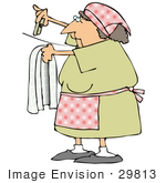 #29813 Clip Art Graphic of a Woman Hanging Clothes up to Dry on a Line by DJArt