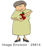 #29814 Clip Art Graphic Of A Woman Eating A Delicious Red Apple