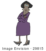 #29815 Clip Art Graphic Of A Pissed Woman In A Purple Dress Crossing Her Arms And Tapping Her Foot