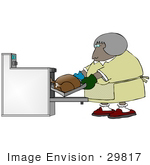 #29817 Clip Art Graphic Of A Lady Putting A Turkey In The Oven To Cook