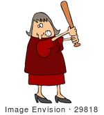 #29818 Clip Art Graphic Of A Pissed Woman Holding A Baseball Bat