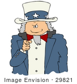 #29821 Clip Art Graphic Of Uncle Sam Pointing Outwards At The Viewer With A Stern Expression On His Face