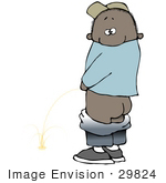 #29824 Clip Art Graphic Of A Mischievious African American Boy Looking Back Over His Shoulder While Peeing In Public