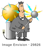 #29826 Clip Art Graphic of Nicola Tesla Surrounded By Electricity While Inventing The Tesla Coil by DJArt