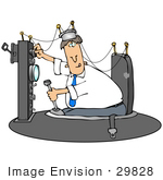 #29828 Clip Art Graphic Of A Caucasian Man Working On His Time Machine Invention by DJArt