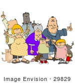 #29829 Clip Art Graphic Of A Group Of Rude People Holding Up Their Middle Fingers