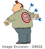 #29832 Clip Art Graphic Of A Man With Arrows Stuck In The Bullseye On His Back
