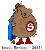#29834 Clip Art Graphic Of A Super Hero Cow Wearing A Blue Cape