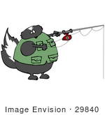 #29840 Clip Art Graphic Of A Skunk Fishing And Wearing A Vest
