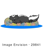 #29841 Clip Art Graphic Of A Lazy Skunk Lying On An Inner Tube In A Swimming Pool