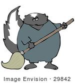 #29842 Clip Art Graphic Of A Janitor Skunk Using A Mop