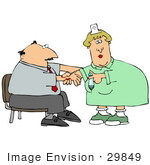 #29849 Clip Art Graphic Of A Nurse Giving A Man A Vaccine