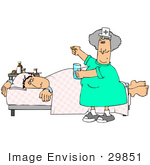 #29851 Clip Art Graphic Of A Nurse Trying To Get A Sick Male Patient To Take His Medicine