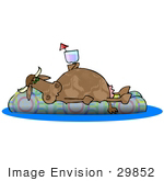 #29852 Clip Art Graphic Of A Lazy Dairy Cow Drinking Wine And Floating On An Inner Tube In A Swimming Pool While Taking A Vacation