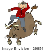#29854 Clip Art Graphic of a Cowboy Riding a Crazy Cow in a Rodeo by DJArt