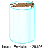 #29856 Clip Art Graphic Of A Brown Dairy Cow Floating On Its Back In A Tall Glass Of Organic Milk