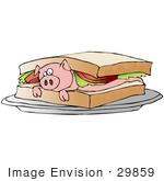 #29859 Clip Art Graphic Of A Clueless Pink Pig Lying Under Lettuce And Tomatoes Between Bread Slices On A Blt Sandwich