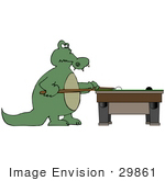 #29861 Clip Art Graphic Of A Male Gator Playing A Game Of Billiards