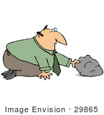 #29865 Clip Art Graphic of a Curious Businessman Looking Under a Rock by DJArt