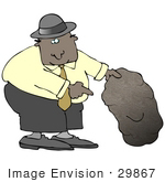 #29867 Clip Art Graphic of a Businessman Looking Under a Rock by DJArt