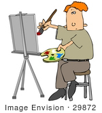 #29872 Clip Art Graphic Of A Caucasian Man Painting A Portrait On An Easel
