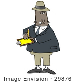 #29876 Clip Art Graphic Of An African American Inspector Writing Notes On A Clipboard