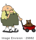 #29882 Clip Art Graphic Of A Thumb Sucking Boy Pulling His Teddy Bear In A Wagon