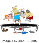 #29885 Clip Art Graphic Of Boys And Girls Bouncing On A Trampoline