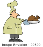 #29892 Clip Art Graphic Of A Chef Carrying A Cooked Turkey