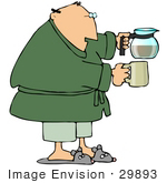 #29893 Clip Art Graphic Of A Man Holding A Coffee Pot And Mug