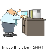#29894 Clip Art Graphic Of A Businessman Heating Up A Bowl Of Food In A Microwave While On Break