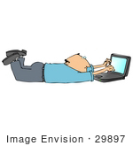 #29897 Clip Art Graphic Of A Man Typing On A Notebook Computer While Lying On His Belly