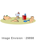 #29898 Clip Art Graphic Of A Man Drinking Wine And Soaking Up The Sun While Buried In The Sand At The Beach