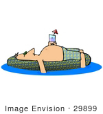 #29899 Clip Art Graphic Of A Man Sun Bathing On An Inner Tube In A Swimming Pool And Holding Wine While On Vacation