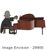 #29900 Clip Art Graphic Of A Talented African American Man Playing A Grand Piano