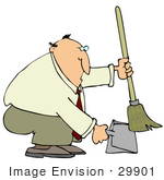 #29901 Clip Art Graphic of a Man Using A Dustpan And Broom To Clean Up A Mess On The Floor by DJArt