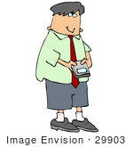 #29903 Clip Art Graphic of a Man Checking His Email or Texting on a Smart Phone by DJArt