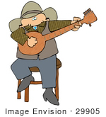 #29905 Clip Art Graphic Of A Cowboy Sitting On A Stool And Picking A Banjo