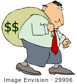#29906 Clip Art Graphic Of A Man Carrying A Heavy Money Bag On His Back