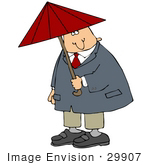 #29907 Clip Art Graphic Of A Man Under A Red Umbrella