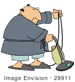 #29911 Clip Art Graphic Of A Man In A Robe And Slippers Using A Vacuum