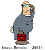 #29914 Clip Art Graphic Of A Confused Mechanic Smoking Carrying A Toolbox And Scratching His Head