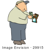 #29915 Clip Art Graphic of a Man Pulling Money Out of His Wallet to Pay For Something by DJArt