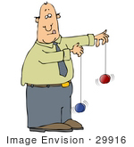 #29916 Clip Art Graphic of a Man Trying To Play With Two Yo Yos At The Same Time by DJArt